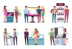 Άνθρωποι και στάση προϊόντων Οι υποστηρικτές προάγουν το δείγμα προϊόντων στον άνδρα και τη γυναίκα με τις στάσεις EXPO προώθησης απεικόνιση αποθεμάτων