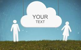 Άνθρωποι και σύννεφο εγγράφου Στοκ εικόνα με δικαίωμα ελεύθερης χρήσης
