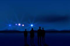 Άνθρωποι και UFO Στοκ Φωτογραφίες