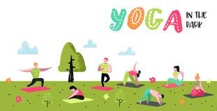 Άνθρωποι κινούμενων σχεδίων που ασκούν την αφίσα γιόγκας, έμβλημα Τέντωμα ανδρών και γυναικών, κατάρτιση Ικανότητα Workout, υγιής ελεύθερη απεικόνιση δικαιώματος