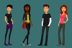 Άνθρωποι κινούμενων σχεδίων στις διάφορες εξαρτήσεις ελεύθερη απεικόνιση δικαιώματος