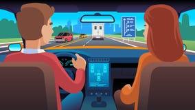 Άνθρωποι μέσα στο εσωτερικό αυτοκινήτων Το κάθισμα ναυσιπλοΐας οδηγών ταξιδιού που χρονολογεί τους οικογενειακούς επιβάτες μετακι απεικόνιση αποθεμάτων