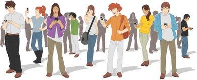 Άνθρωποι με τα έξυπνα τηλέφωνα ελεύθερη απεικόνιση δικαιώματος