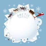 Άνθρωποι με τα αρκτικά σκυλιά Sledding, στρογγυλό πλαίσιο Στοκ Φωτογραφίες