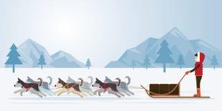 Άνθρωποι με τα αρκτικά σκυλιά Sledding, υπόβαθρο πανοράματος Διανυσματική απεικόνιση