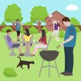 Άνθρωποι οικογενειακών φίλων bbq στο διάνυσμα κομμάτων υπαίθρια ελεύθερη απεικόνιση δικαιώματος