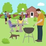 Άνθρωποι οικογενειακών φίλων bbq στο διάνυσμα κομμάτων υπαίθρια διανυσματική απεικόνιση
