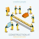 Άνθρωποι οικοδόμων κατασκευής καθορισμένοι τον επίπεδο τρισδιάστατο Ιστό τη isometric έννοια Στοκ Φωτογραφίες