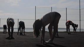 Άνθρωποι ομάδας που τεντώνουν τα πόδια μια σύνοδος workout απόθεμα βίντεο