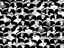 Άνθρωποι ομάδας ακροατηρίων που κάθονται το γραπτό άνευ ραφής σχέδιο διανυσματική απεικόνιση