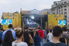Άνθρωποι περνώντας καλά και προσέχοντας μια συναυλία της ημέρας φιλίας στοκ φωτογραφίες με δικαίωμα ελεύθερης χρήσης