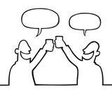 άνθρωποι ποτών που ψήνουν δύο Στοκ εικόνες με δικαίωμα ελεύθερης χρήσης