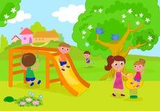 Άνθρωποι που έχουν τη διασκέδαση στο πάρκο διανυσματική απεικόνιση