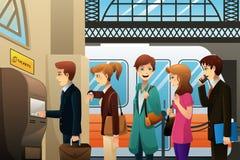 Άνθρωποι που αγοράζουν το εισιτήριο τραίνων διανυσματική απεικόνιση