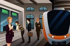 Άνθρωποι που αγοράζουν το εισιτήριο τραίνων απεικόνιση αποθεμάτων