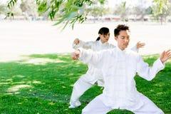 Άνθρωποι που ασκούν ταϊλανδικό chi στο πάρκο Στοκ φωτογραφία με δικαίωμα ελεύθερης χρήσης