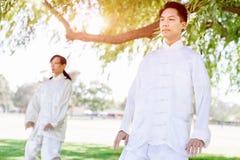 Άνθρωποι που ασκούν ταϊλανδικό chi στο πάρκο Στοκ Εικόνα