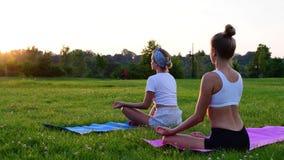 Άνθρωποι που ασκούν τη γιόγκα στη χλόη στο πάρκο Κοριτσιών, που κάθεται στο λωτό θέτει υπαίθρια στο ηλιοβασίλεμα απόθεμα βίντεο