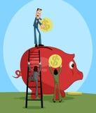 Άνθρωποι που βάζουν το νόμισμα στη piggy τράπεζα διανυσματική απεικόνιση