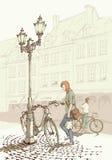 Biking στην παλαιά πόλη Στοκ Εικόνα