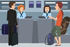 Άνθρωποι που ελέγχουν μέσα στο γραφείο αερογραμμών ελεύθερη απεικόνιση δικαιώματος