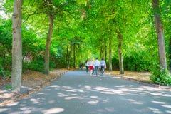 Άνθρωποι, που θολώνονται στην κίνηση, περπάτημα ήρεμο κατά μήκος του ελαφριού κτυπήματος πάρκων πόλεων Στοκ Φωτογραφία