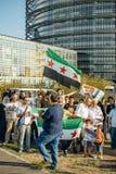 Άνθρωποι που καταγγέλλουν τα συριακά airstrikes Douma Στοκ εικόνα με δικαίωμα ελεύθερης χρήσης