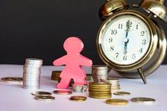 Άνθρωποι που κερδίζουν χρήματα, οικονομική έκθεση Ο χρόνος είναι χρήματα και πλούτος Στοκ φωτογραφία με δικαίωμα ελεύθερης χρήσης