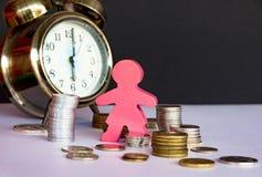 Άνθρωποι που κερδίζουν χρήματα, οικονομική έκθεση Ο χρόνος είναι χρήματα και πλούτος Στοκ εικόνα με δικαίωμα ελεύθερης χρήσης