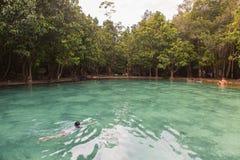 Άνθρωποι που κολυμπούν σε έναν φυσικό στοκ φωτογραφίες με δικαίωμα ελεύθερης χρήσης