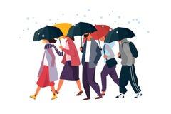 Άνθρωποι που κρατούν την ομπρέλα, που περπατά κάτω από τη βροχή Διανυσματική απεικόνιση χαρακτήρων φθινοπώρου ανδρών και γυναικών Στοκ Εικόνες