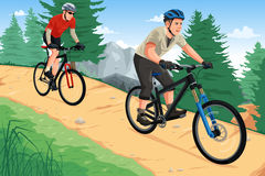 Άνθρωποι που οδηγούν τα ποδήλατα βουνών ελεύθερη απεικόνιση δικαιώματος