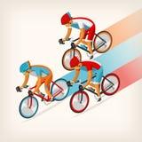 Άνθρωποι που οδηγούν το ποδήλατο με πλήρη ταχύτητα Στοκ Εικόνες