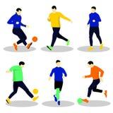Άνθρωποι που παίζουν το ποδόσφαιρο με τη σφαίρα απεικόνιση αποθεμάτων