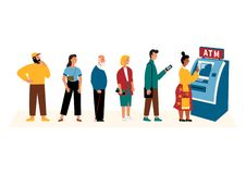 Άνθρωποι που περιμένουν στη γραμμή κοντά στη μηχανή του ATM Επίπεδη διανυσματική απεικόνιση κινούμενων σχεδίων, που απομονώνεται  διανυσματική απεικόνιση