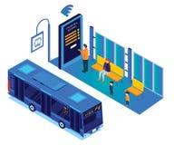 Άνθρωποι που περιμένουν το λεωφορείο ενώ το πρόσωπο κρατά το σε απευθείας σύνδεση Isometric έργο τέχνης εισιτηρίων λεωφορείων ελεύθερη απεικόνιση δικαιώματος