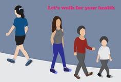 Άνθρωποι που περπατούν για την υγεία τους ελεύθερη απεικόνιση δικαιώματος