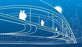 Άνθρωποι που περπατούν στη για τους πεζούς γέφυρα διάνυσμα οριζόντων σχεδίου πόλεων ανασκόπησής σας Σύγχρονη πόλη νύχτας Απεικόνι απεικόνιση αποθεμάτων