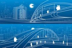 Άνθρωποι που περπατούν στη για τους πεζούς γέφυρα o Σύγχρονη πόλη νύχτας Σύνολο απεικόνισης υποδομής, αστική σκηνή Άσπρες γραμμές ελεύθερη απεικόνιση δικαιώματος