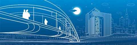 Άνθρωποι που περπατούν στη για τους πεζούς γέφυρα o Σύγχρονη πόλη νύχτας Σύνολο απεικόνισης υποδομής, αστική σκηνή Άσπρες γραμμές απεικόνιση αποθεμάτων