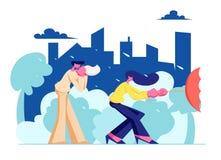 Άνθρωποι που περπατούν την οδό στο άσχημο καιρό με τη βροχή στο υπόβαθρο εικονικής παράστασης πόλης, χτύπημα ανδρών η μύτη του στ διανυσματική απεικόνιση