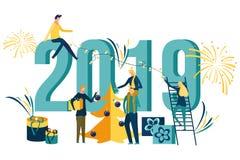 Άνθρωποι που προετοιμάζονται για και εορτασμός καλή χρονιά ελεύθερη απεικόνιση δικαιώματος