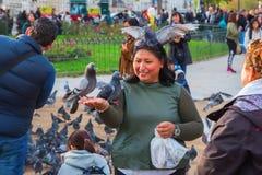 Άνθρωποι που ταΐζουν τα περιστέρια στη Παναγία των Παρισίων Στοκ Εικόνα