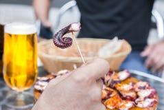 Άνθρωποι που τρώνε νόστιμο Pulpo ένα ξύλινο πιάτο Λα Gallega Της Γαλικίας μαγειρευμένο ύφος χταπόδι με το ελαιόλαδο πάπρικας και Στοκ Φωτογραφία