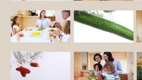 Άνθρωποι που τρώνε τα λαχανικά και τα υγιή τρόφιμα απόθεμα βίντεο