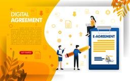 Άνθρωποι που υπογράφουν τις συμφωνίες ή συμβάσεις, τις ψηφιακές συμφωνίες για τις επιχειρήσεις και τις επιχειρήσεις, διανυσματικό απεικόνιση αποθεμάτων