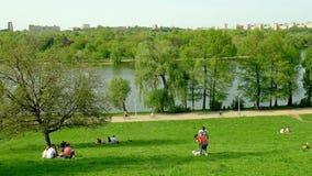 Άνθρωποι που χαλαρώνουν και που έχουν το πικ-νίκ στο δημόσιο πάρκο νεολαιών φιλμ μικρού μήκους