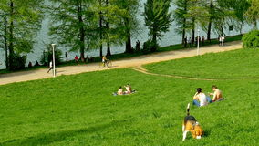 Άνθρωποι που χαλαρώνουν και που έχουν το πικ-νίκ στο δημόσιο πάρκο νεολαιών απόθεμα βίντεο