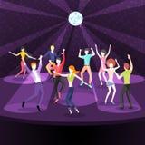 Άνθρωποι που χορεύουν στο νυχτερινό κέντρο διασκέδασης Πίστα χορού επίπεδη Στοκ εικόνες με δικαίωμα ελεύθερης χρήσης