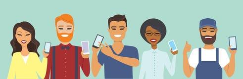 Άνθρωποι που χρησιμοποιούν τα έξυπνα τηλέφωνα διανυσματική απεικόνιση